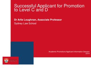 Successful Applicant for Promotion to Level C and D