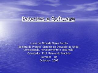 Patentes e Software