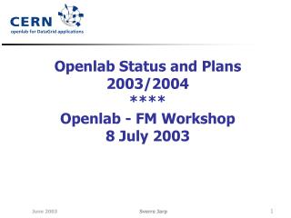 Openlab Status and Plans 2003/2004 **** Openlab - FM Workshop 8 July 2003