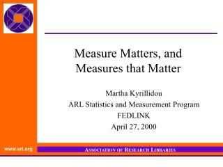 Measure Matters, and  Measures that Matter