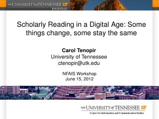 Scholarly Reading in a Digital Age: Some things change, some stay the same