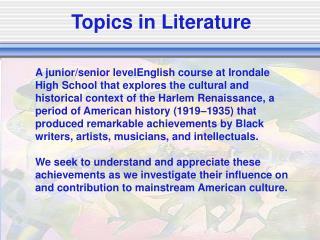 Topics in Literature