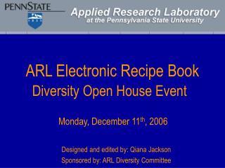 ARL Electronic Recipe Book