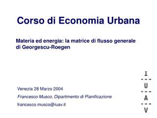 Corso di Economia Urbana