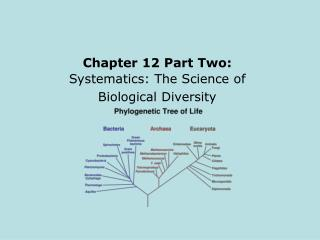 Chapter 12 Part Two: Systematics: The Science of Biological Diversity