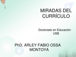 MIRADAS DEL CURR�CULO Doctorado en Educaci�n USB