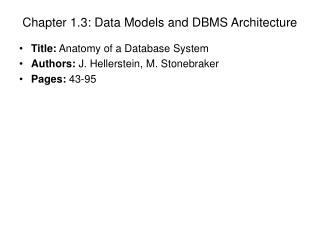 Chapter 1.3: Data Models and DBMS Architecture