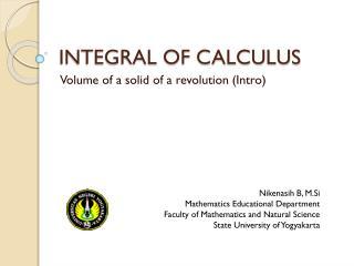 INTEGRAL OF CALCULUS