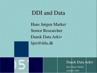 DDI and Data