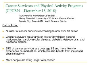 Cancer Survivors and Physical Activity Programs (CPCRN – December 13, 2010)