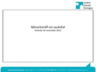 Nätverksträff om nyckeltal Arlanda 16 november 2011
