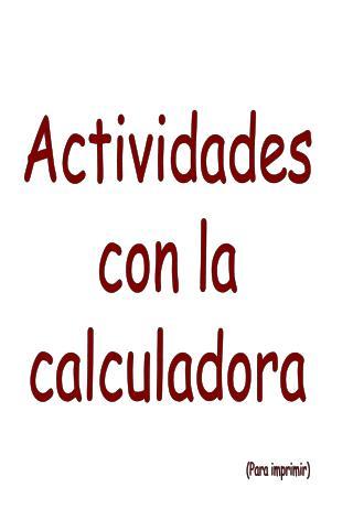 Actividades con la calculadora