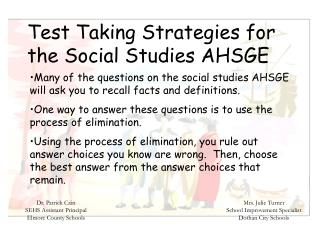 Test Taking Strategies for the Social Studies AHSGE