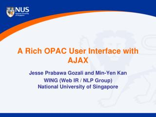 A Rich OPAC User Interface with AJAX