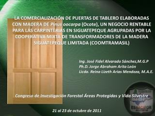 Ing. José Fidel Alvarado  Sánchez,M.G.P Ph.D.  Jorge Abraham  Arita  León