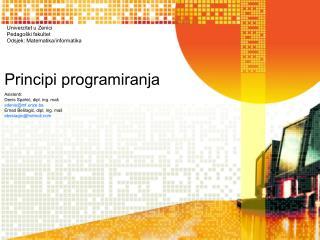 Principi programiranja