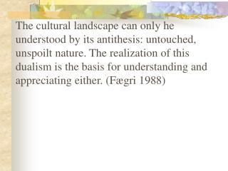 Cultural landscape concept