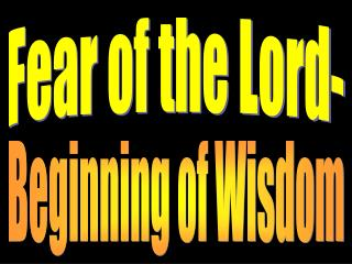 Fear of the Lord-