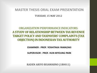 MASTER THESIS ORAL EXAM PRESENTATION