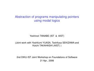 Abstraction of programs manipulating pointers using modal logics