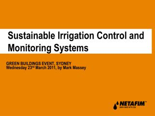 Sustainable Irrigation Control and Monitoring Systems