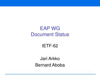 EAP WG Document Status