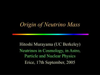 Origin of Neutrino Mass