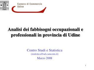Analisi dei fabbisogni occupazionali e professionali in provincia di Udine
