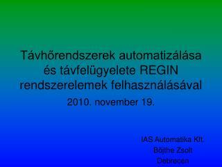 Távhőrendszerek automatizálása és távfelügyelete REGIN rendszerelemek felhasználásával
