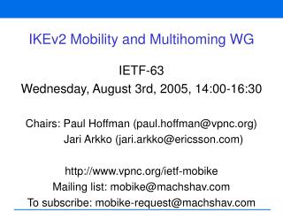 IKEv2 Mobility and Multihoming WG