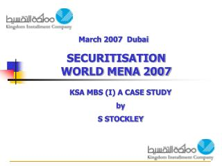 KSA MBS (I) A CASE STUDY by S STOCKLEY