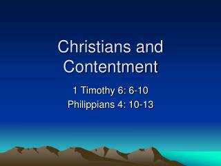 Christians and Contentment