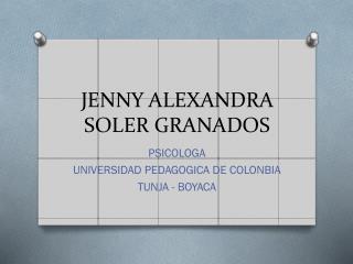 JENNY ALEXANDRA SOLER GRANADOS