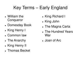 Key Terms – Early England