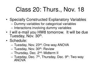 Class 20: Thurs., Nov. 18