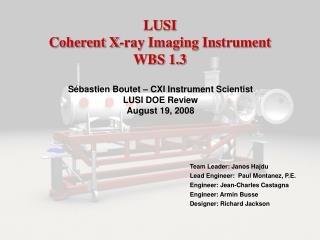 LUSI Coherent X-ray Imaging Instrument WBS 1.3