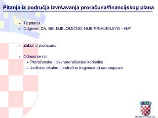 Pitanja iz područja izvršavanja proračuna/financijskog plana