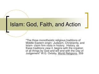 Islam: God, Faith, and Action