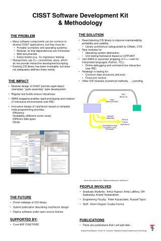 CISST Software Development Kit & Methodology