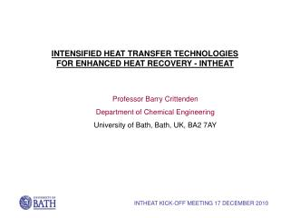Professor Barry Crittenden Department of Chemical Engineering