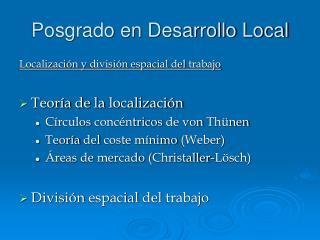Posgrado en Desarrollo Local