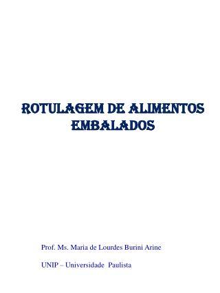 ROTULAGEM DE ALIMENTOS  EMBALADOS