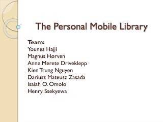 The Personal Mobile Library