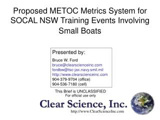 Proposed METOC Metrics System for SOCAL NSW Training Events Involving Small Boats