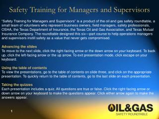Safety Training for Managers and Supervisors