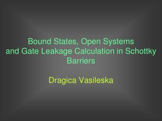 Bound States, Open Systems and Gate Leakage Calculation in Schottky Barriers Dragica Vasileska