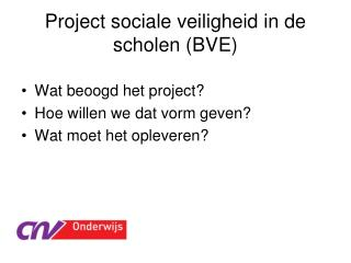 Project sociale veiligheid in de scholen (BVE)