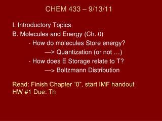 CHEM 433 – 9/13/11