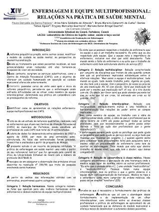 ENFERMAGEM E EQUIPE MULTIPROFISSIONAL: RELAÇÕES NA PRÁTICA DE SAÚDE MENTAL