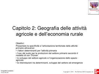 Capitolo 2: Geografia delle attività agricole e dell'economia rurale